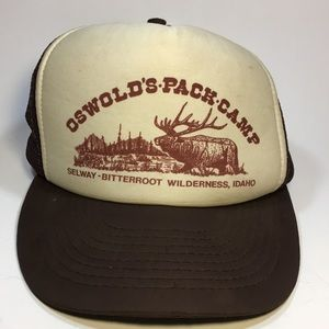 Vtg SnapBack trucker hat camping Idaho brown